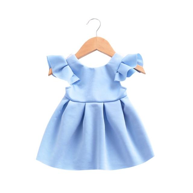 KAVKAS Summer Baby Girl Lovely Ruffled Short Sleeve Bow