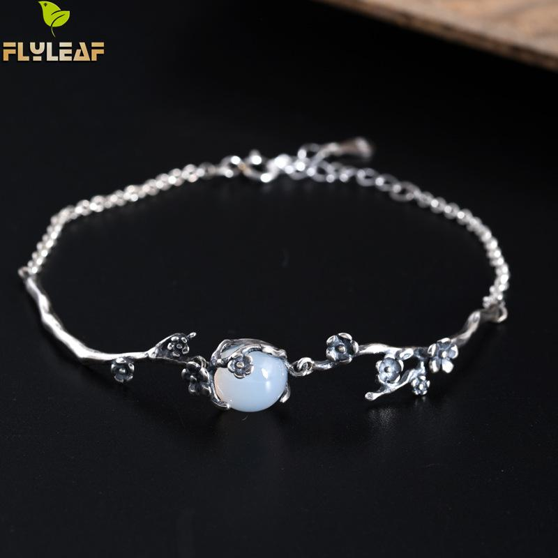 Flyleaf 100% 925 Sterling Silver Branches Plum Flower Charm Bracelets & Bangles For Women Do The Old Craft Vintage Jewelry