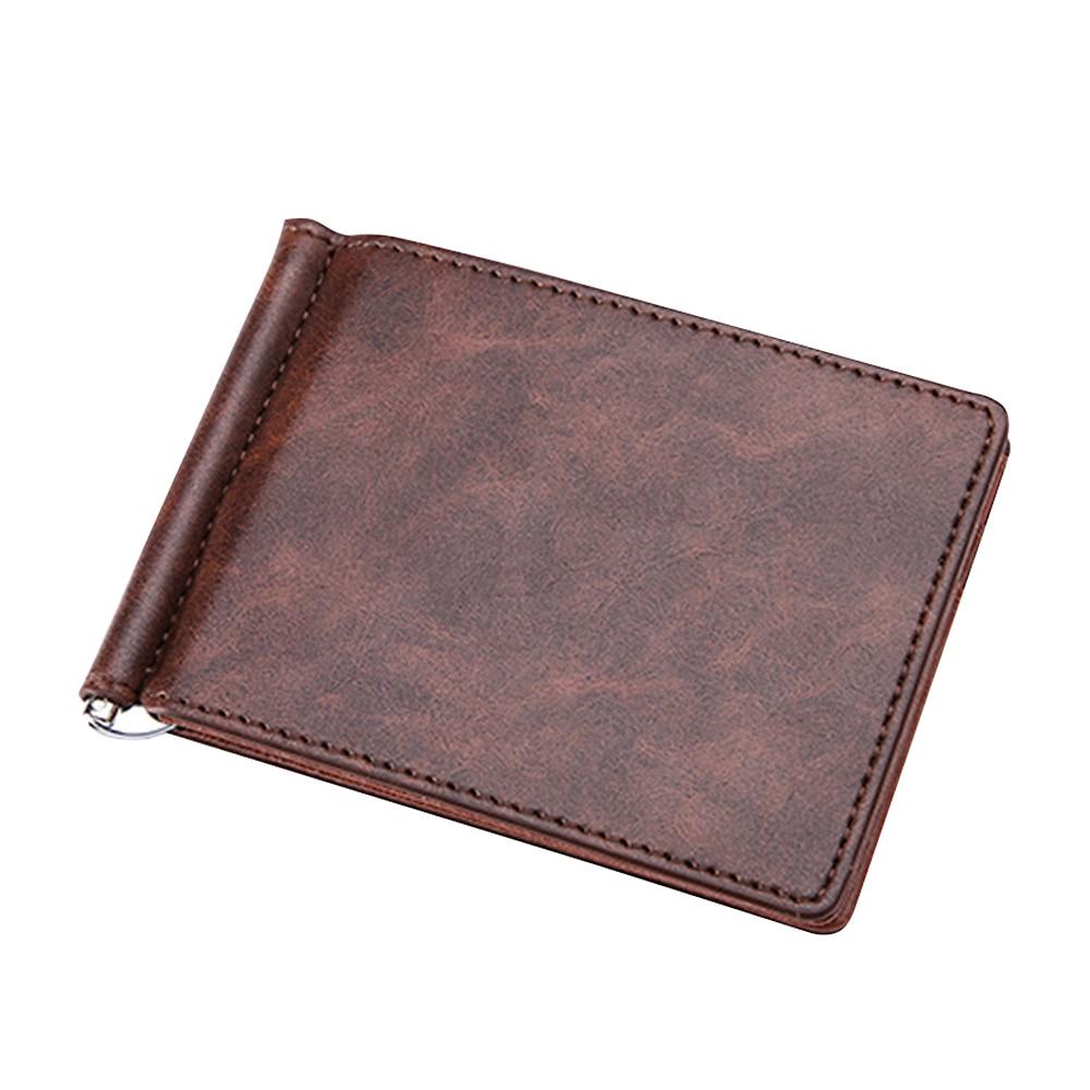 Vintage Men's Genuine Leather Short Money Clip Cowhide Male Ultra Thin Money Change Clips Bi-fold Wallet Men