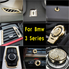 Car Styling Button Cover Air Outlet Switch Start Trim Diamond Decoration Stickers for bmw 3series 3gt