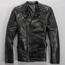 2016 fashion slim stand collar zipper motorcycle rider clothing genuine sheep skin leather clothing mens short leather jacket