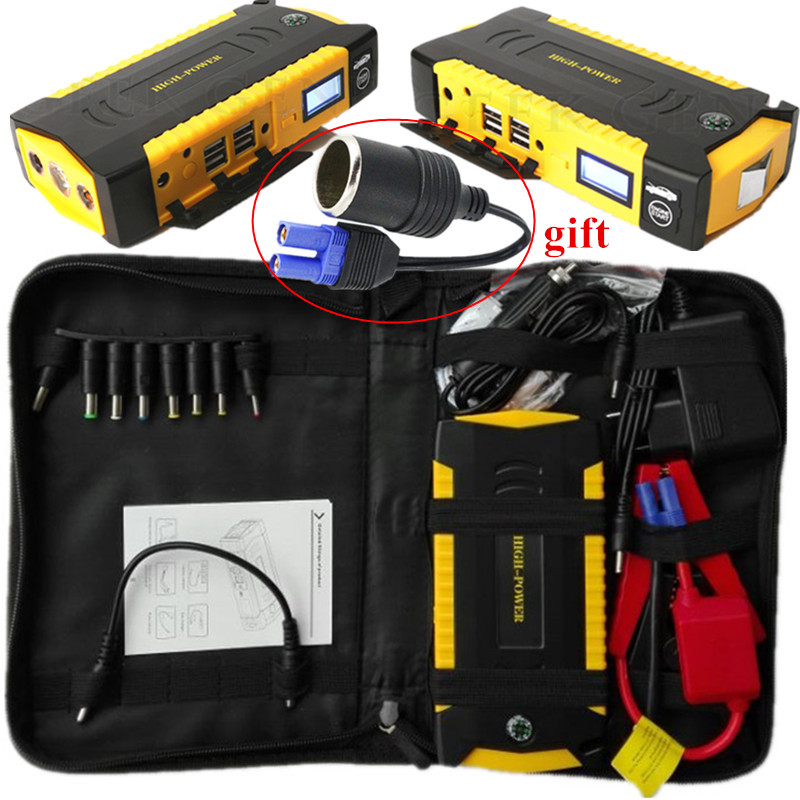 2017 Car Jump Starter Portable 12V Petrol Diesel Starting Device 4USB Power Bank 600A Pack Car Battery Charger Buster SOS Lights 2016 high capacity gasoline diesel car jump starte 12v emergency battery charger 4usb portable power bank sos lights free ship