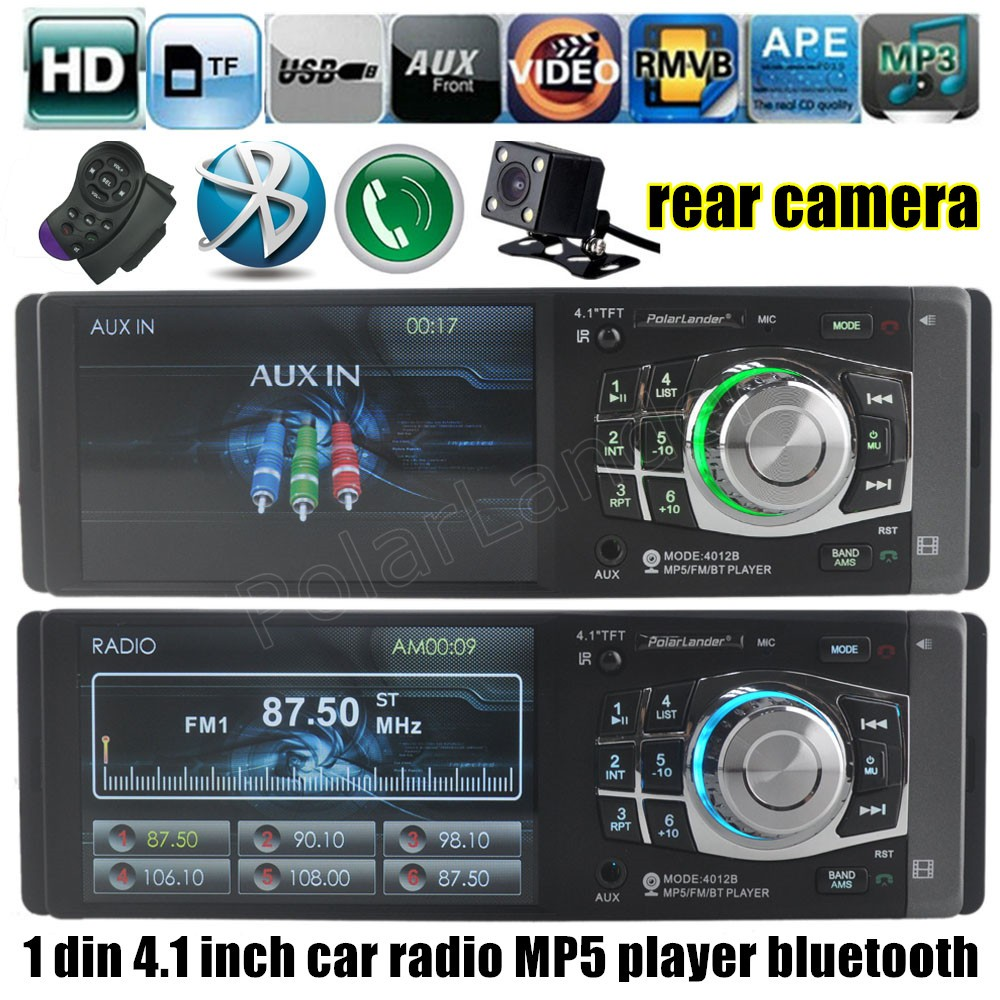 Car Radio Mp4 MP5 Player bluetooth USB TF Aux 1 Din Car Audio Stereo including rear camera with steering wheel remote control image
