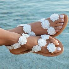 Женские босоножки в богемном стиле Стиль Летняя женская обувь с плоской подошвой с Для женщин плоский сандалии пляж обувь ; Вьетнамки с цветами размера плюс Дамская обувь