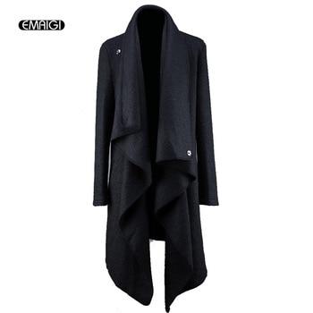 Punk Style Trench Jacket Male Fashion Woolen Long Cardigan Irregular Design Long Outerwear Men Coat Singer Costume