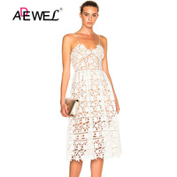 ADEWEL Lace Party Dresses Hollow Out Floral Sleeveless Elegant Sexy Night Club Women Spaghetti Strap Nude Illusion Midi Dress
