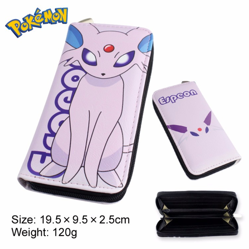 Hot Pokemon Go Game Zipper Long Wallet Pikachu/Charmander/Mewtwo/Espeon Pocket Monster Purse Game Boy Pu Leather Handbag