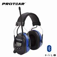 Protear NRR 25dB Hearing Protector Bluetooth AM/FM Radio Earmuffs Electronic Ear Protection Bluetooth Headphone Ear Defender