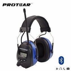 Protear NRR 25dB Protezione Acustica Blue tooth AM/FM Radio Paraorecchie di Protezione Orecchio Elettronico Bluetooth Cuffie Ear Defender