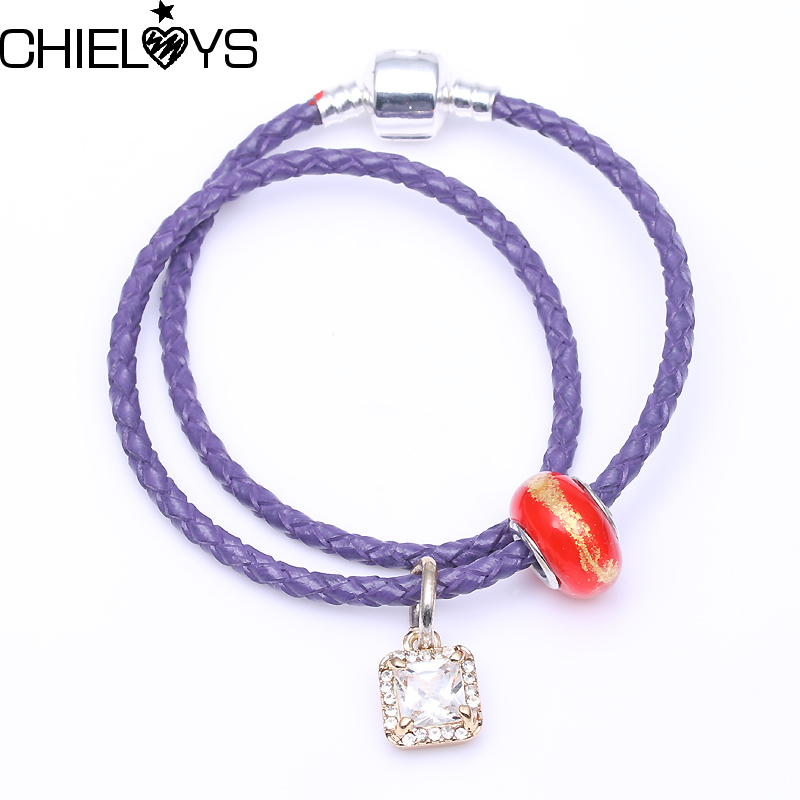 CHIELOYS Hot Sale Vintage Pandora Bracelet Gold Color with Murano Glass Beads Charm Bracelets For Kids Gift Accessories LB001