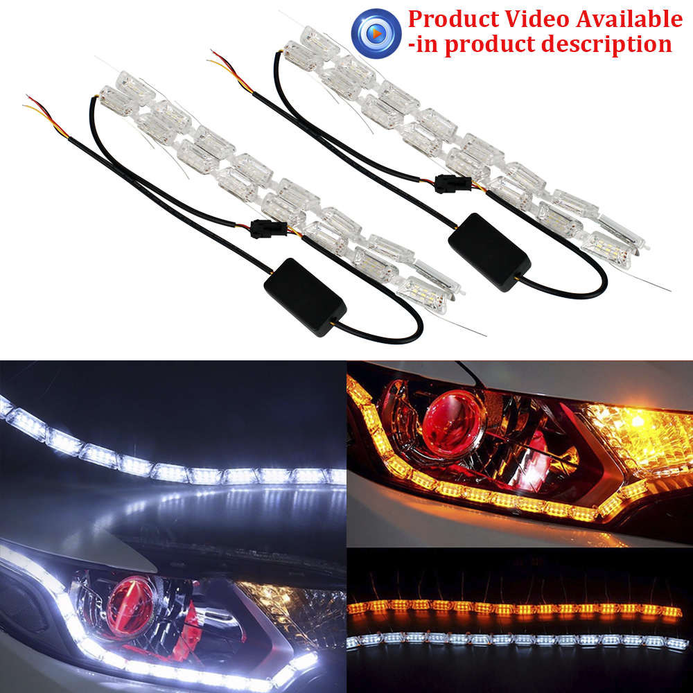 2pcs 16SMD Amber Sequential Flowing Flexible LED Strip DRL Crystal Angel Tear Eyes Daytime Running Light