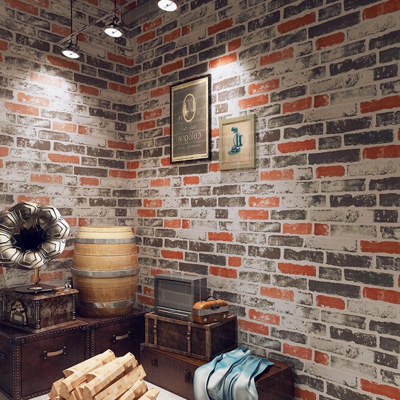 PVC Waterproof Vintage 3D Stone Effect Wall Paper For Kitchen Restaurant Cafe Bar Red Brick Wall Decor Wallpaper Papel De Parede