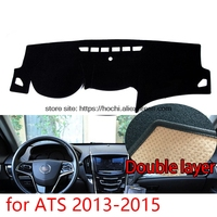 For cadillac ATS 2013 2015 Double layer Silica gel Car Dashboard Pad Instrument Platform Desk Avoid Light Mats Cover Sticker