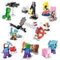 16 unids mini juego alex pigman zombie esqueleto minecraft steve aldeano building blocks figura juguetes compatible con lego estilo
