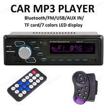 Radio de coche Reproductor de MP3 Bluetooth Manos Libres 12 V FM SD AUX IN USB steeing rueda de control 7 colores LED display Auto Audio Estéreo