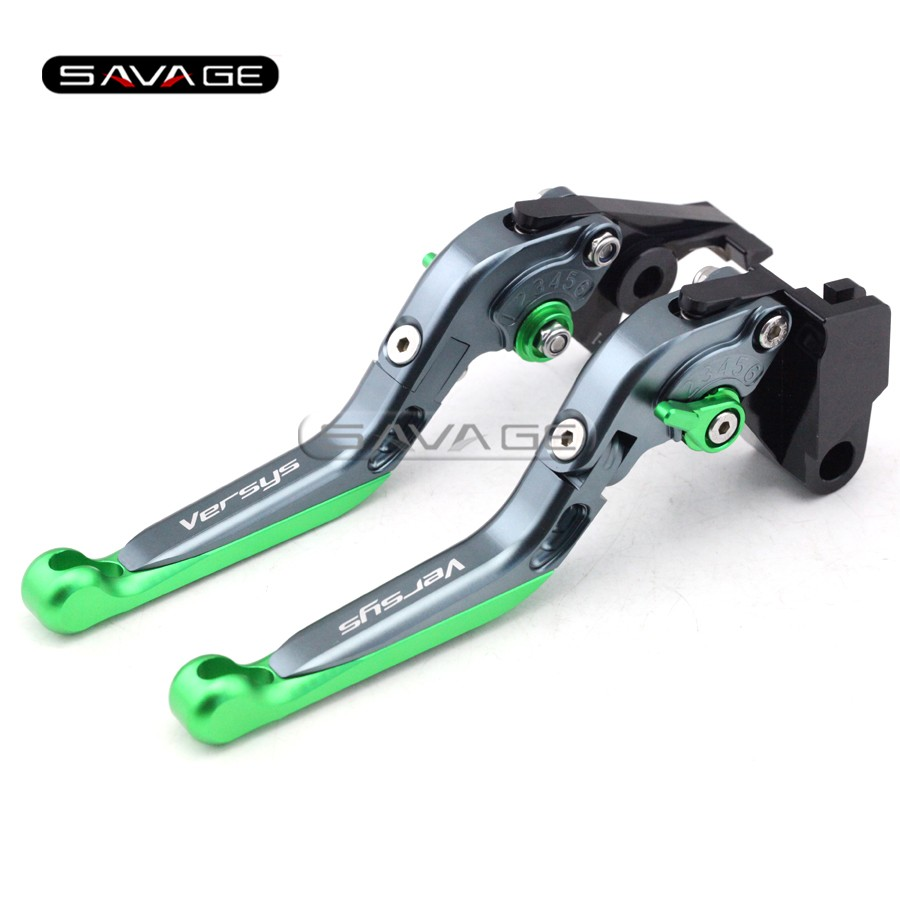 For KAWASAKI KLE 650 Versys 2006 2007 2008 Titanium+G Motorcycle Adjustable Folding Extendable Brake Clutch Lever Logo Versys