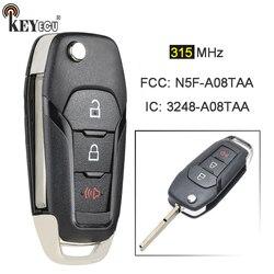 Keyecu 315mhz fcc: N5F-A08TAA keyless entrada dobrável 2 + 1 3 botão remoto carro chave fob para ford F-150 F-250 explorer f450