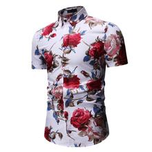 Floral Mens Shirts Short sleeve Flower Hawaiian Shirt Men Fashion Blouse Man Black White