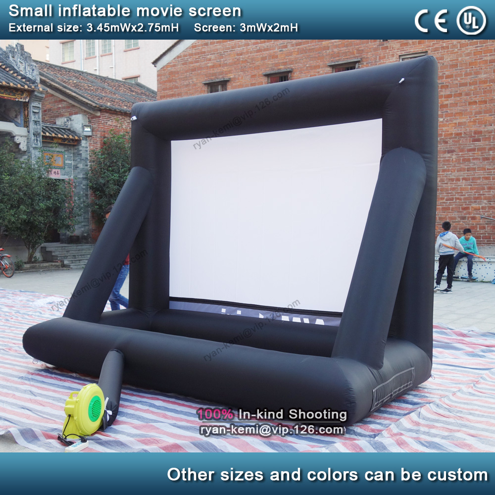 3m front rear projection inflatable movie screen small inflatable film screen yard party TV air cinema with blower 4