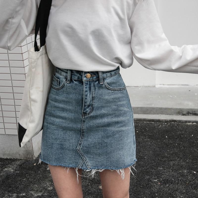 Summer Fashion High Waist Skirts Womens Pockets Button Denim Skirt Female 2018 New All-matched Casual Jeans Skirt