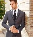 Terno do Casamento do noivo Smoking Padrinho de Casamento Dos Homens do Estilo Ocidental Ternos de Negócio Chefe Usa Cinza Jantar Jaqueta Entalhado Lapela (Jacket + calças)