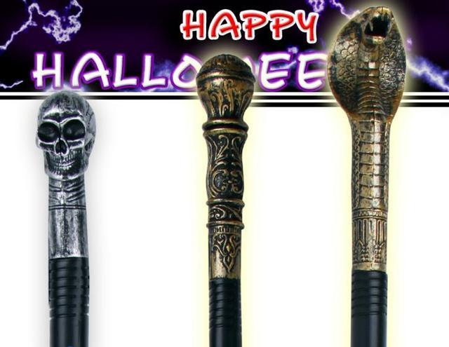 evil witch halloween fancy dress handheld cane staff snake skeleton skull king magic wands canes easter