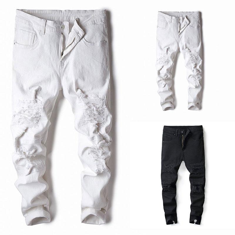 2019 New Black Color Ankle Zipper Jeans Men Skinny Fit Elastic Stretch Knee Hole Ripped Jeans For Men Streetwear Men Jeans