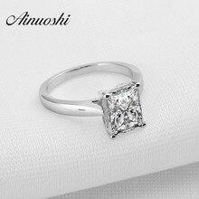 AINOUSHI 925 пробы Серебряное кольцо прямоугольная огранка Sona синтетические женские обручальные кольца Solitare ювелирные изделия кольцо
