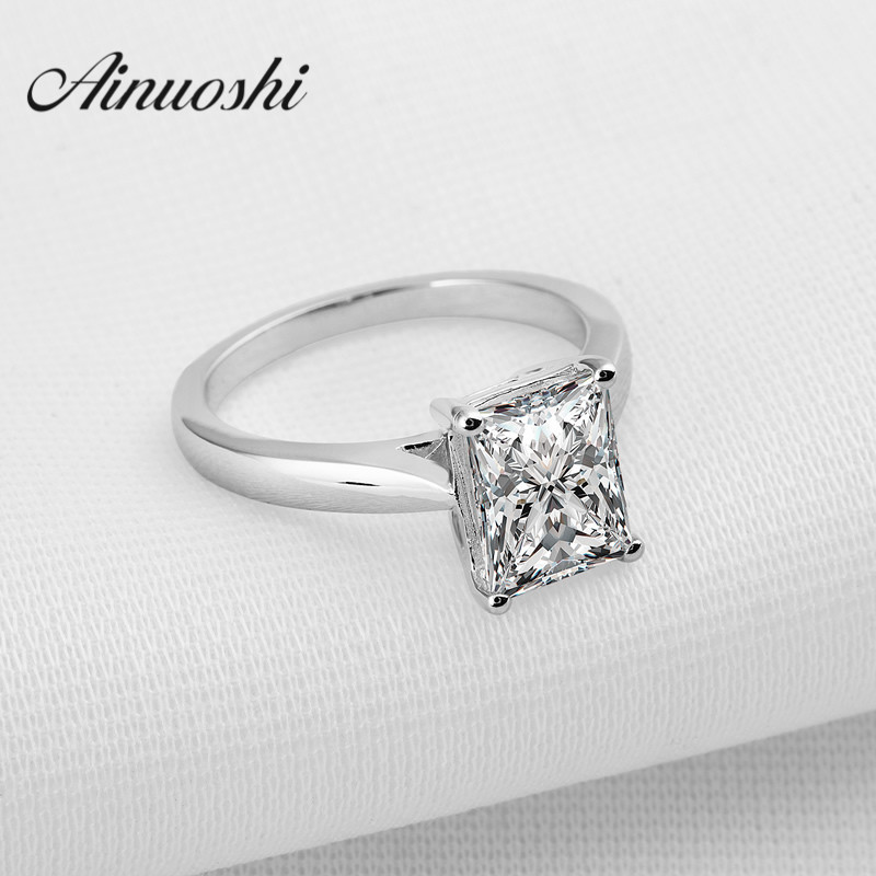 AINOUSHI 925 Sterling Silver Band Ring Rectangle Cut Sona Synthetic Women Engagement Cincin Solitare Fine Jewelry Ring