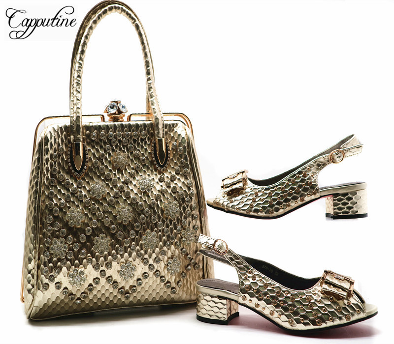 Capputine Hot Sale Fashion Shoes And HandBags Set African Low Heels 4.5CM Shoes And Bag Set Summer Woman PU Sandal Shoes G57