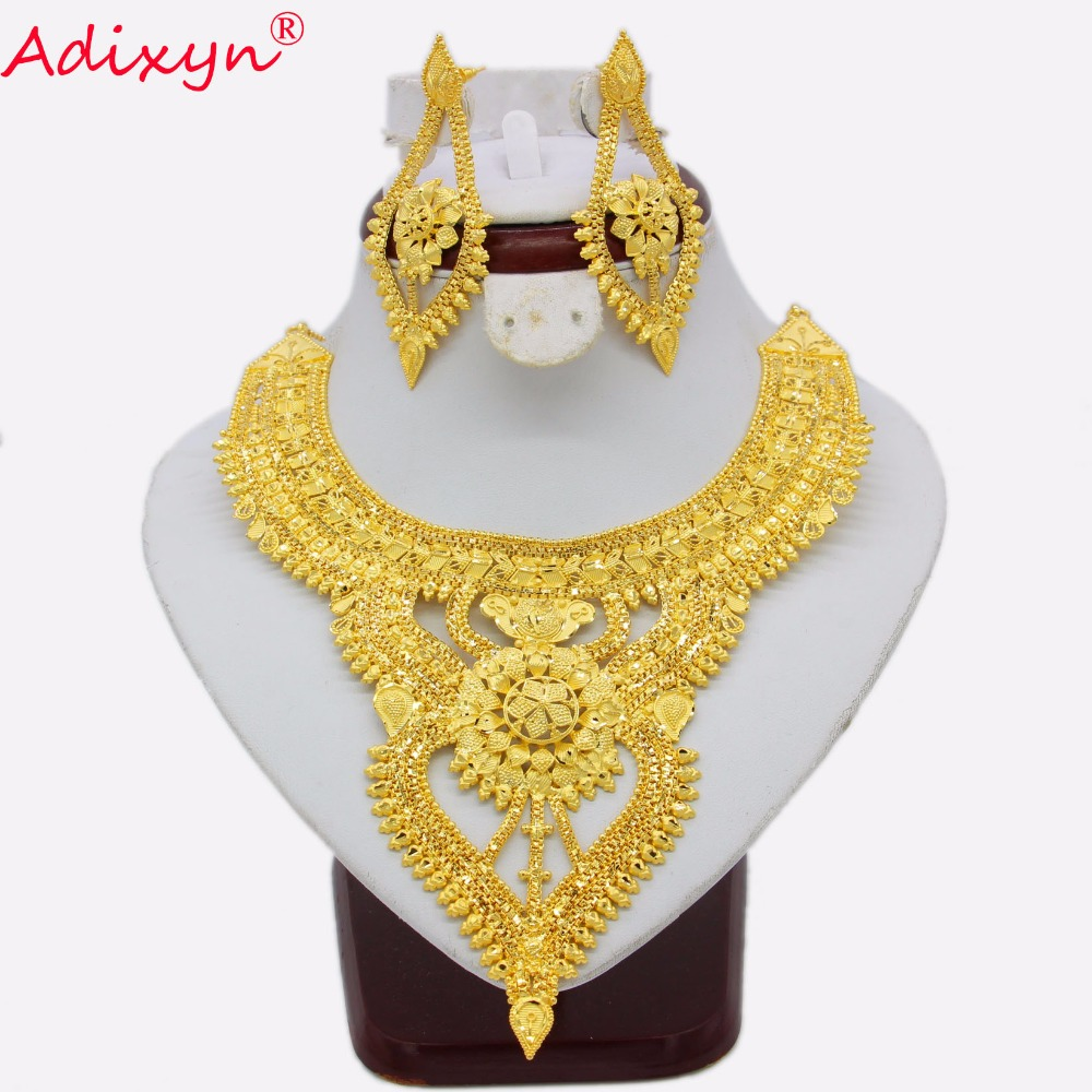 Adixyn African Jewelry Set Luxury Gold Color Copper Necklace Earrings Arab Dubai Wedding Party Girlfriend Gifts
