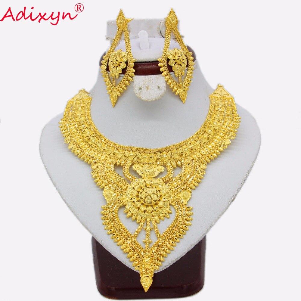 Adixyn Afrikaanse Sieraden Set Luxe Goud Kleur/Koper Ketting Oorbellen Arabische Dubai Bruiloft Vriendin Geschenken N03136-in Sieradensets van Sieraden & accessoires op  Groep 1