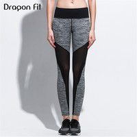 Dragon Fit Net Yarn Quick Drying Running Fitness Leggings Women Patchwork Elastic Yoga Pants Sport Leggings