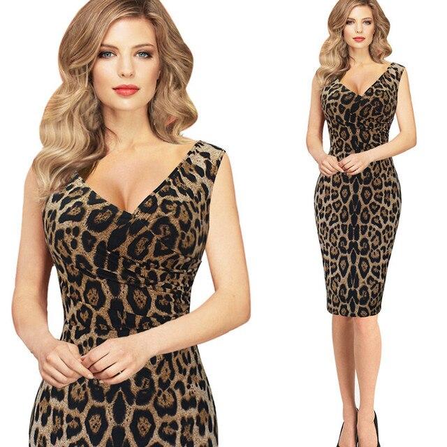 77684ffcdd Leopard Print Dresses XXL Europe New 2017 Women Summer Sleeveless Sexy V  Neck Portrait Vintage Club Sexy Party Formal Dresses
