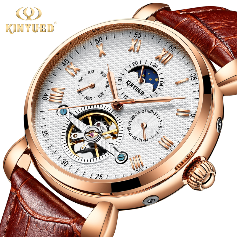KINYUED Automatic Tourbillon Watch Men Moon Phase Luxury Fashion Brand Skeleton Mechanical Watches Mens Rose Gold Reloj 2018 kinyued mens watches top brand luxury automatic self wind mechanical watch rose gold leather tourbillon skeleton male wristwatch