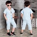 2016 Summer Children Suit Baby Boys Suits Kids Blazer For Wedding Boys Clothes Set Short Sleeve Jackets Blazer+Pants 2pcs 3-10Y