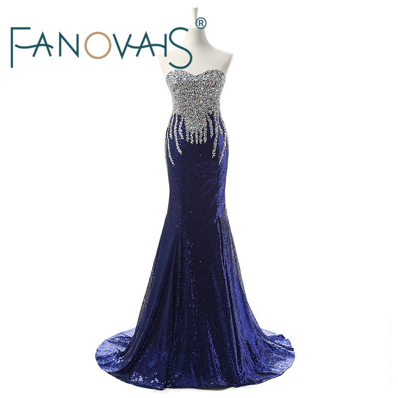 2019 Sequins Crystal Beaded Mermaid Aftonklänningar Split Side Special Occasion Dress klänning de soiree longue vestido de fiesta