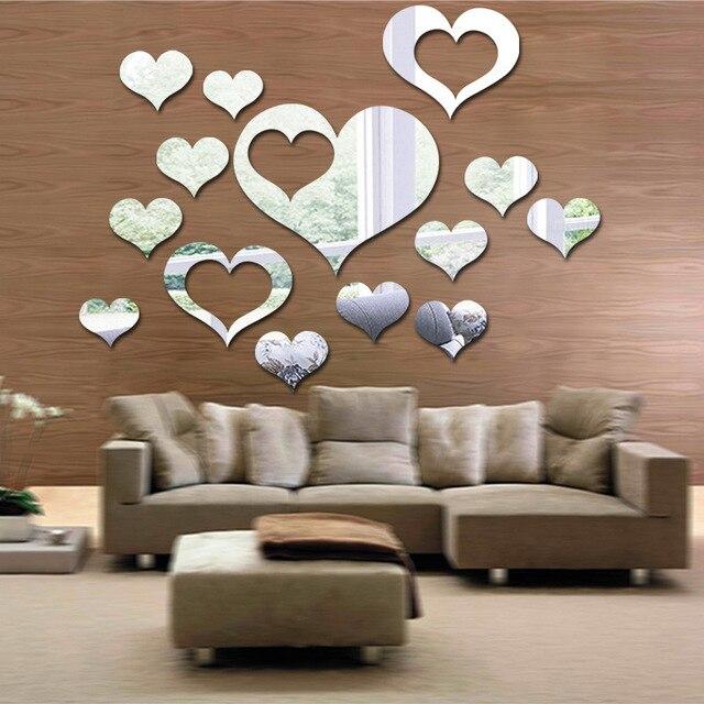 Sofa In Der Küche | 14 Teile Los 3d Tapeten Herz Spiegel Wandaufkleber Schlafzimmer