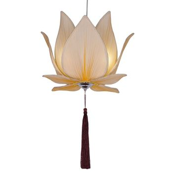Chinese Beige Fabric Lotus Dining room Pendant light Restaurant Hanging Lamps Bedroom Living Study Room Pendant Lighting Fixture