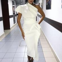 2019 Spring Women Elegant Sexy Solid White Cocktail Midi Dresses Asymmetrical One Shoulder Ruched Irregular Formal Party Dress white one shoulder frill trim asymmetrical swimsuit
