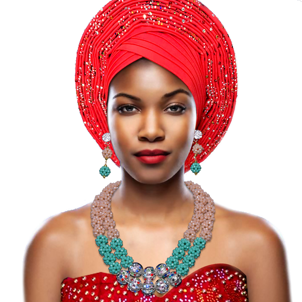 Luxury Silver Green Ball Bridal Costume African Crystal Beads Necklace Womens Nigerian Wedding Beads African Beads Jewelry Set hot nigerian wedding beads jewelry set womens red ball crystal beads necklace african wedding beads bridal jewelry set 2018