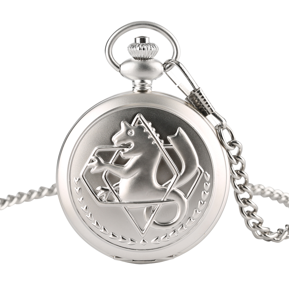 Full Metal Alchemist Dull Polish Quartz Pocket Watch Unisex Vintage Fob Chain Pendant Gift Clock Men Watches vintage antique stainless steel quartz pocket watch key shaped pendant watch key chain unisex gift new popular style hot selling