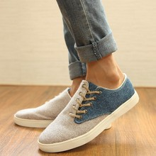 Mens Casual Knitting Flats Hot Breathable Hemp Lace-Up Mens Shoes Youth Low Top Crooked Mouth Splicing Trend Fashion Shoes
