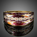 Jenia Yellow Gold Plated Rhinestone Red Oil Painting Designer Bangle Bracelet For Female XB051
