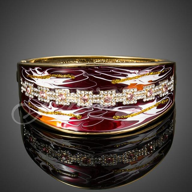 Jenia Yellow Gold Plated Rhinestone Red Oil Painting Designer Bangle Bracelet For Female XB051