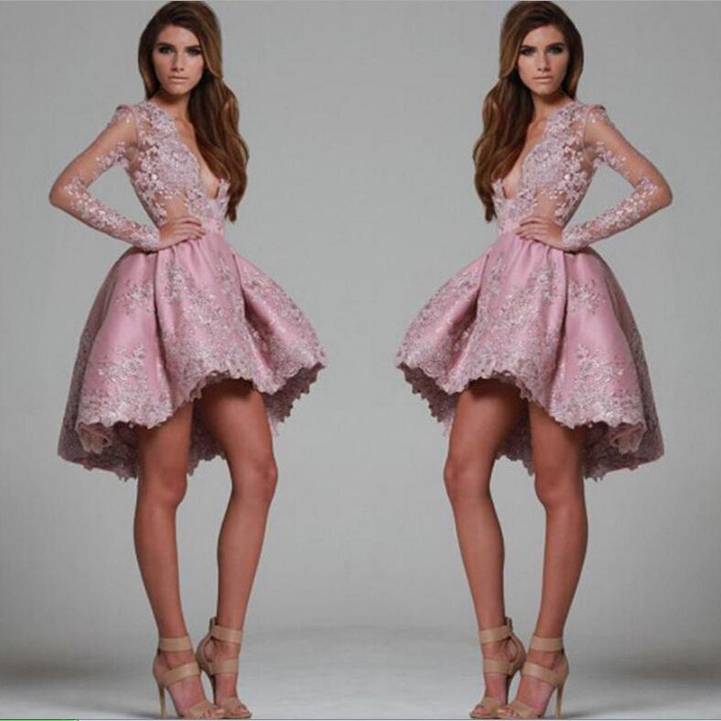 Gray Pink Lace Short Cocktail Dresses 2016 Puffy Lady Formal Party Dress Sexy Deeep V neck Prom