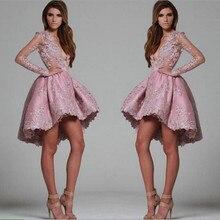 Grau Rosa Spitze Kurze Cocktailkleider 2016 Puffy Dame Formales Partei-kleid Sexy Deeep V-ausschnitt Abendkleider Robe De Cocktail