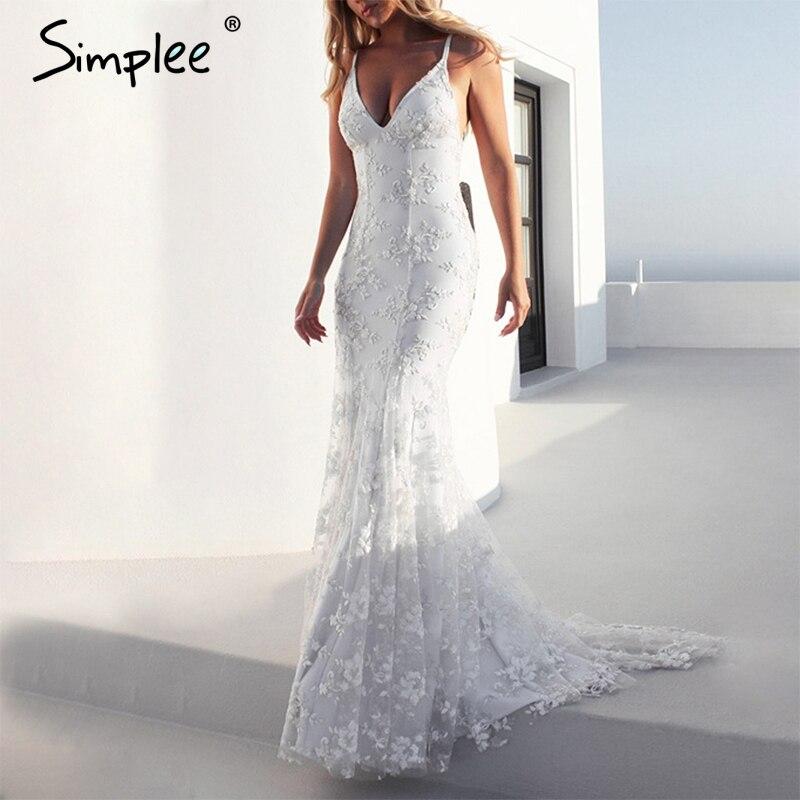 Simplee элегантное вышивальное кружево женские вечернее платье ремень v шеи длинное платье в обтяжку на молнии спинки vestidos 2018