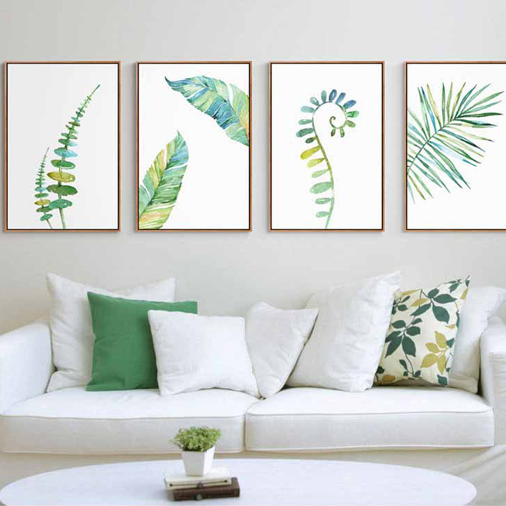 1pc watercolor tropical plant leaves minimalist art canvas poster painting nature wall picture modern home office