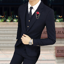 Pants + jacket + vest men's suits casual suits  small suit fashion   Korean solid color youth jacket